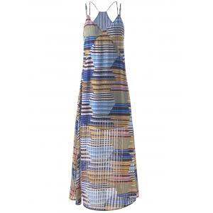 Bohemian Long Striped Spaghetti Strap Dress For Women - Grey And White And Blue - M
