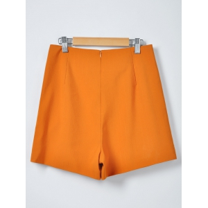 Fashionable Solid Color Irregular Culottes Shorts - ORANGE S