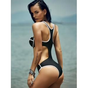Tendency High Neck Color Block Cut Out One-Piece Women's Swimwear -