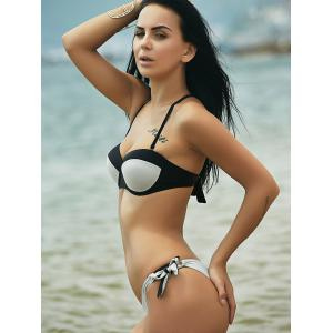 Stylish Spaghetti Strap Stereo Design Push Up High-Cut Bikini For Women - SMOKY GRAY L