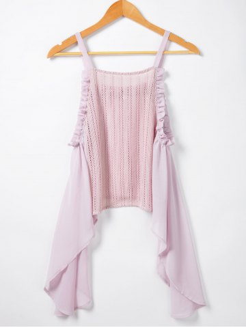 Novelty Irregular Hem Condole Top For Women - PINK S