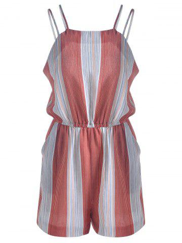Casual Striped Jumpsuits For Women - Blue And Red - M