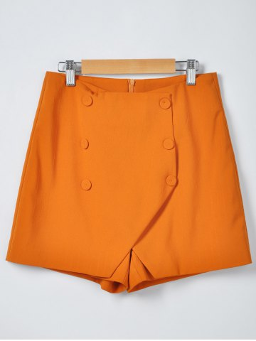 Hot Fashionable Solid Color Irregular Culottes Shorts ORANGE S