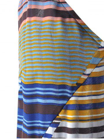 Discount Bohemian Long Striped Spaghetti Strap Dress For Women - S GREY AND WHITE AND BLUE Mobile