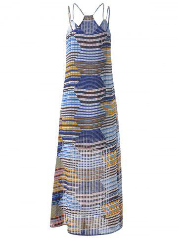Chic Bohemian Long Striped Spaghetti Strap Dress For Women - S GREY AND WHITE AND BLUE Mobile