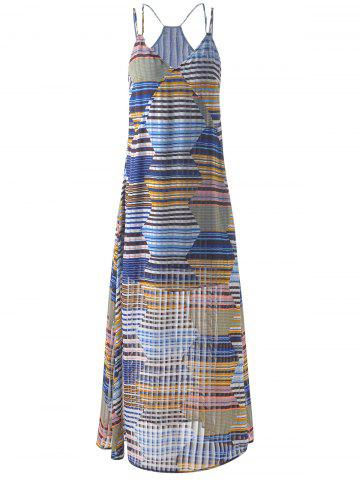 Hot Bohemian Long Striped Spaghetti Strap Dress For Women GREY AND WHITE AND BLUE S