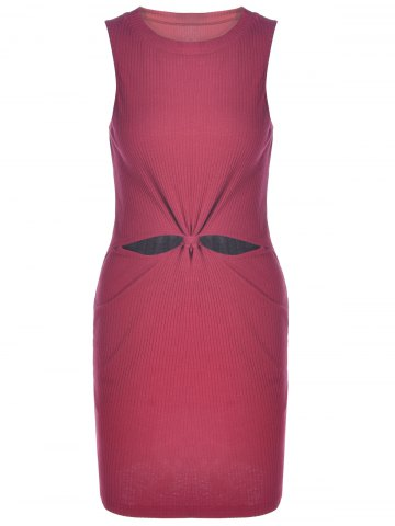 Shop Sleeveless Knotted Bodycon Going Out Dress WINE RED L