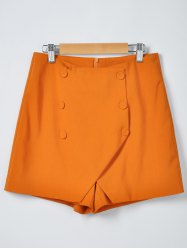 Fashionable Solid Color Irregular Culottes Shorts - ORANGE