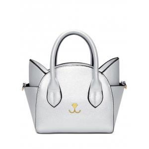 Charming Cat Shape and Solid Color Design Tote Bag For Women - Silver - 40