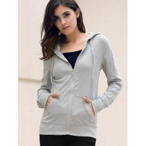 Stylish Hooded Long Sleeve Solid Color Skull Pattern Women's Hoodie -