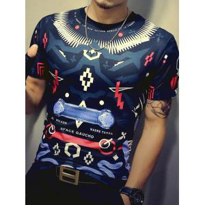Color Block Geometric Print Round Neck Short Sleeve T-Shirt For Men -