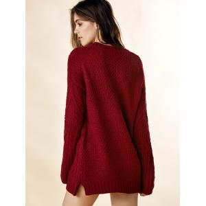 Vintage Round Neck Long Sleeve Solid Color Loose-Fitting Furcal Women's Sweater -