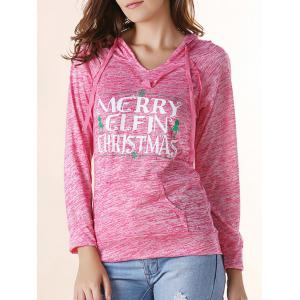 Trendy Hooded Long Sleeve Pocket Design Letter Print Women's Hoodie