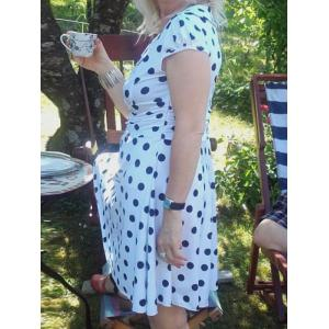 Fashionable Women's High Waist Slim Short Sleeve V Neck Polka Dot Dress -