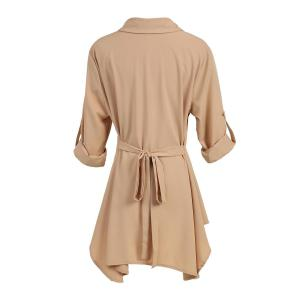 Chic Shirt Collar Long Sleeve Solid Color Asymmetrical Women's Dress -