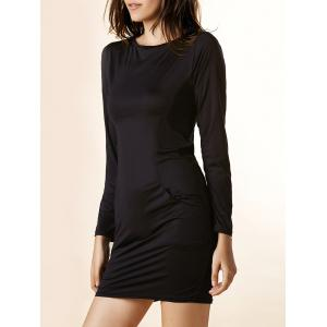 Charming Solid Color Boat Neck Long Sleeve Pocket Mini Dress For Women