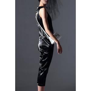 Faux Leather Zip Capri Jumpsuit -