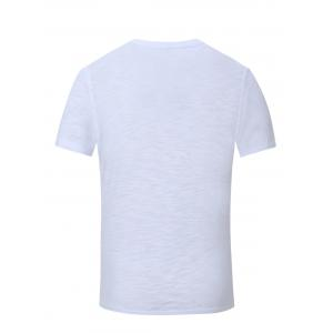 V-Neck Letter and Sailing Print Short Sleeve T-Shirt For Men -