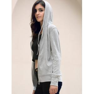 Stylish Hooded Long Sleeve Solid Color Skull Pattern Women's Hoodie - GRAY L