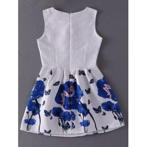 Stunning Jewel Neck Sleeveless Printed Pleated Dress For Women -