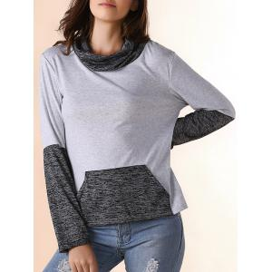 Stylish Cowl Neck Long Sleeve Color Block Women's Sweatshirt