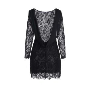 Lace Long Sleeve Backless Short Bodycon Dress - BLACK S
