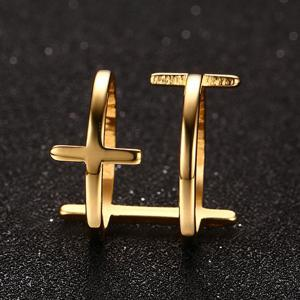 Gold Plated Double Layered Bar Ring - GOLDEN