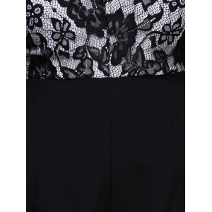 Fashionable Strappy Lace Panelled Backless Romper For Women -