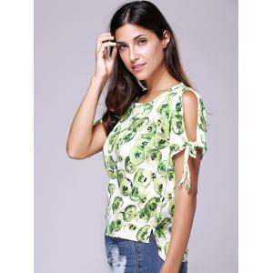 Chic Women's Hollow Out Print Round Neck Short Sleeve T-Shirt -