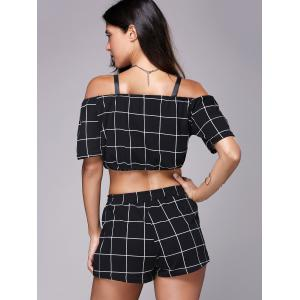 Checked Crop Top and Mini Short - BLACK M