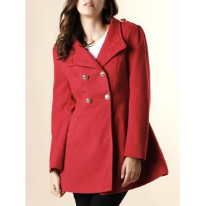 Fashionable Stand-Up Neck Long Sleeve Double-Breasted Women's Coat - Red - M
