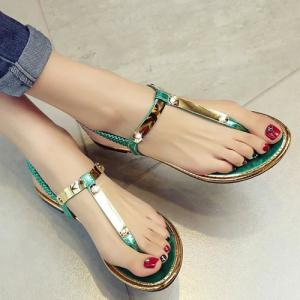 Concise Elastic Band and Flat Heel Design Sandals For Women -