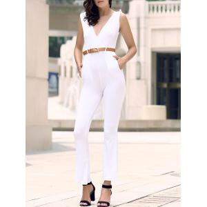 Trendy Solid Color Sleeveless Belted Wide-Leg Jumpsuit For Women - White - Xl