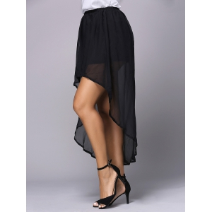 Chic Women's Irregular Chiffon Pure Color Skirt -