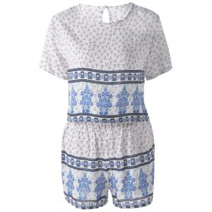 Ethnic Round Neck Cut Out Back Pearl Button Crop Top + High Waist Stepped Hem Shorts Floral Printing Twinset For Women