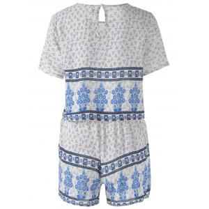 Ethnic Round Neck Cut Out Back Pearl Button Crop Top + High Waist Stepped Hem Shorts Floral Printing Twinset For Women - BLUE ONE SIZE(FIT SIZE XS TO M)