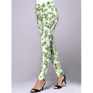 Stylish Women's Elastic Waist Print Skinny Pants -