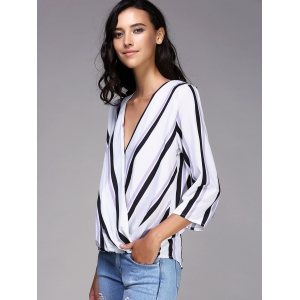 Stylish Plunging Neck Striped 3/4 Sleeve Top For Women -