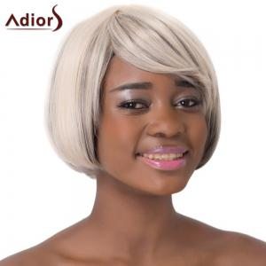 Stylish Mixed Color Side Bang Short Faddish Straight Synthetic Adiors Wig For Women