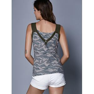 Stylish Women's Camouflage Hollow Out Crop Top - CAMOUFLAGE L
