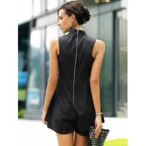 Fashionable Stand Collar Cut Out Solid Color Romper For Women -