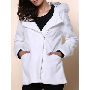 Chic Hooded Long Sleeve Loose-Fitting Zippered Women's Coat - White - One Size(fit Size Xs To M)