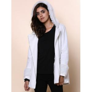 Chic Hooded Long Sleeve Loose-Fitting Zippered Women's Coat - WHITE ONE SIZE(FIT SIZE XS TO M)
