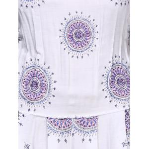 Bohemian Strappy Print Backless Romper For Women - WHITE S