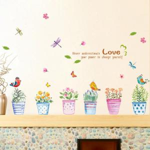 Creative Hand painted Bonsai Pattern Wall Sticker For Bedroom Livingroom Decoration - Colormix - 60*90cm