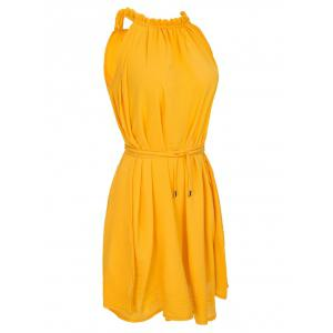 Casual Ruffled Neck Sleeveless Stretchy  Women's Belted Dress -