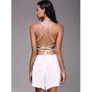 Bohemian Strappy Cut Out Backless Romper For Women - WHITE XL