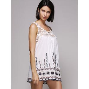 Stylish Scoop Neck Embroidered Hollow Out Women's Tank Top -