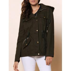 Long Sleeve Drawstring Long Coat Jacket - Army Green - L