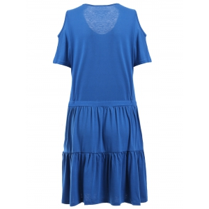 Casual Scoop Neck Cold Shoulder Ruffled Dress For Women -